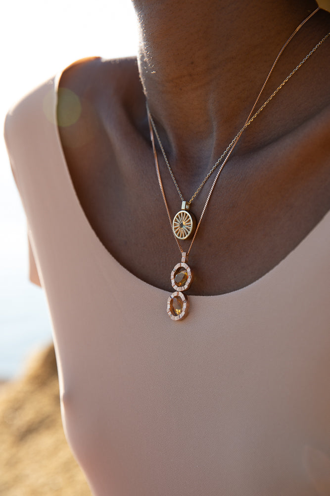 SUN NECKLACE M MAUVE SPINEL