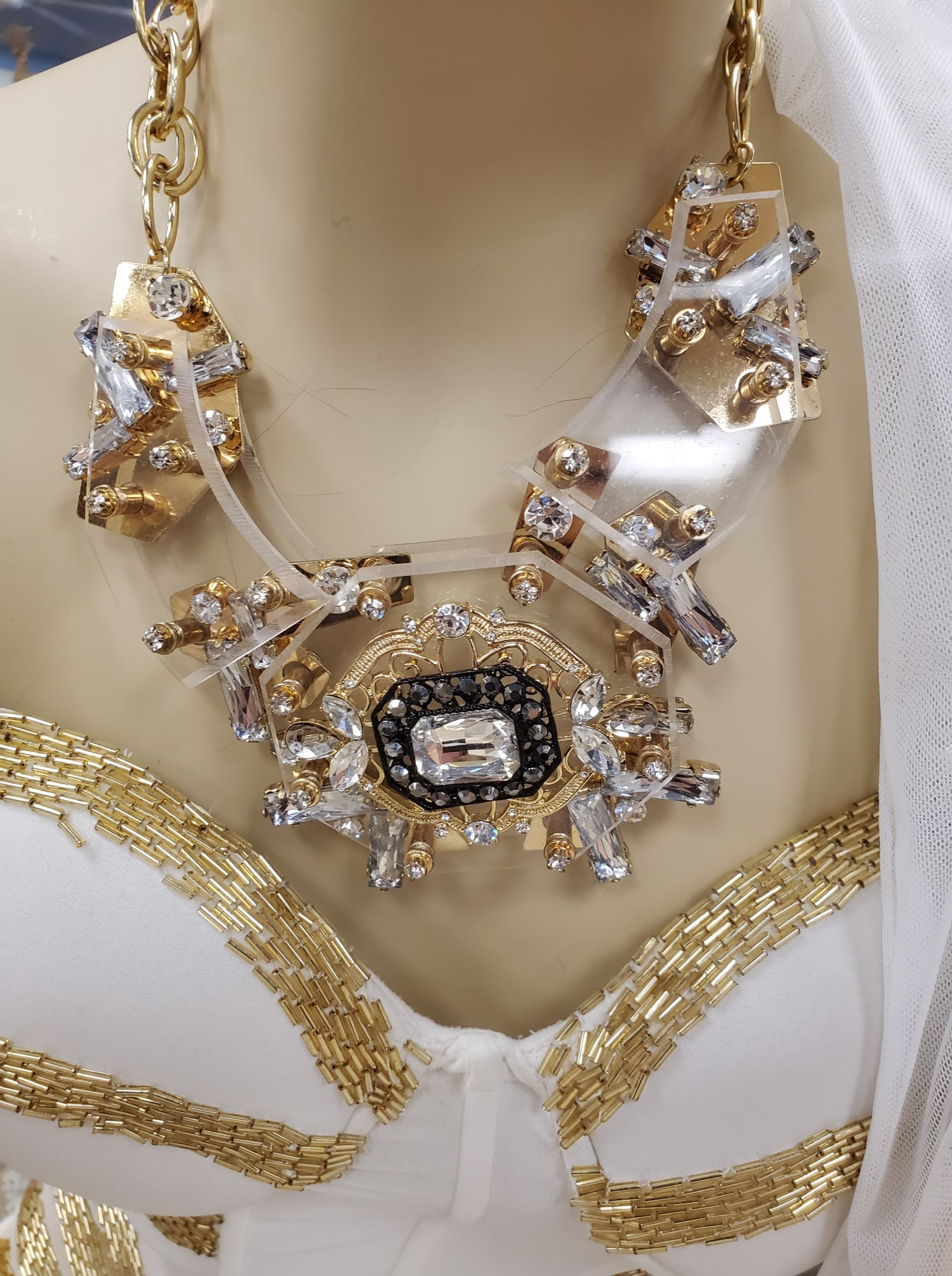 Show Stopping Hand Crafted Lucite Crystal & Gold Necklace