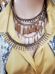 Timeless 3-Tiered Chain & Leather Tassel Necklace