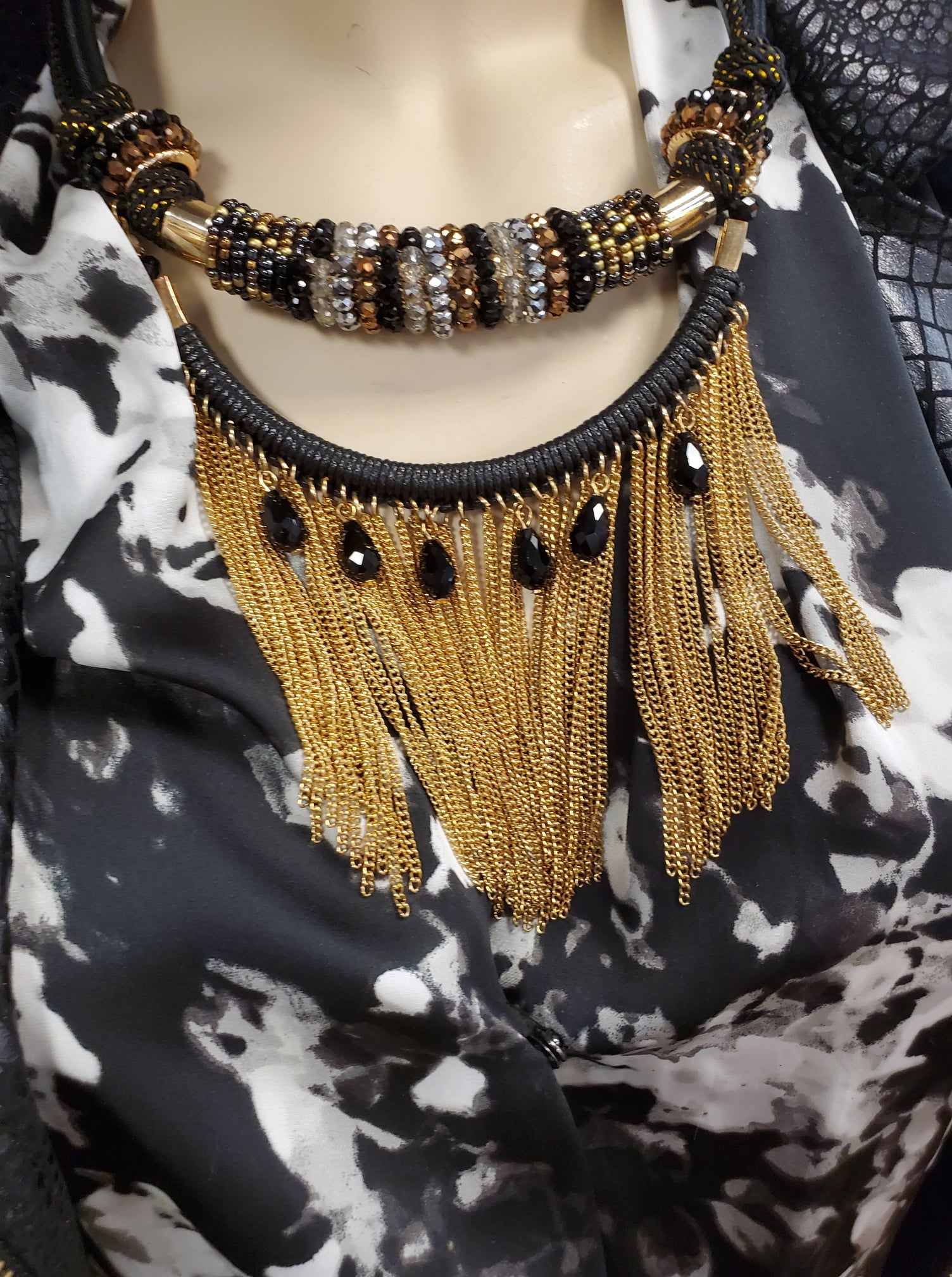 """Uptown"" Crystal Jet & Fine Gold Fringe Necklace"