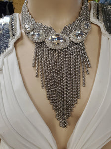 Dramatic Crystal Disks on Silver Chain Choker