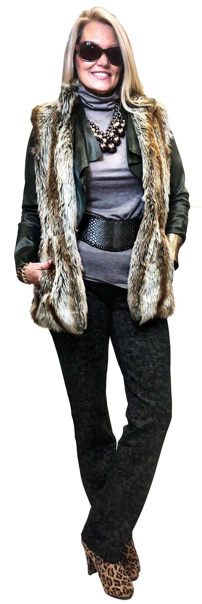Faux Wolf Fitted Waist Fur Vest
