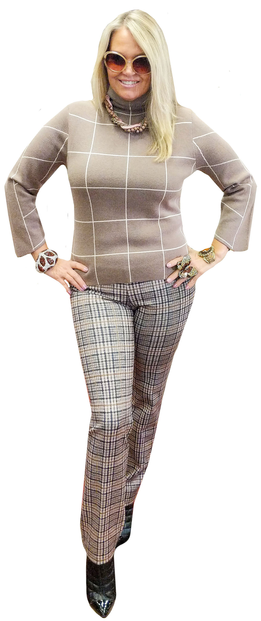 Taupe and Cream Box Plaid Mock Neck Knit