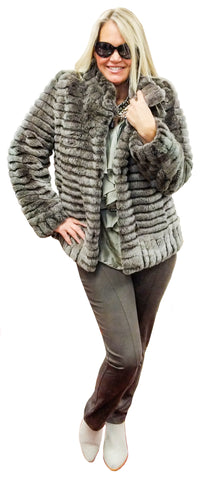 Reversible (Fur/ Raincoat) Chinchilla Rex Cuddle Coat