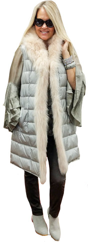 Beveled Goose-Down Maxi Vest with Blush Fox Trim