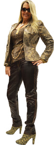 Glazed Metallic Micro Suede Fitted Jacket