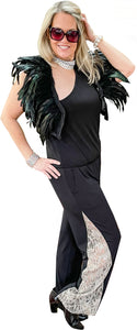 Stretch Mesh and Turkey Feather Boa Crop Vest