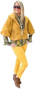 Mustard Cropped Windbreaker Blouson Jacket