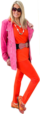 Sorbet Pink Textured Vegan Leather Crombie