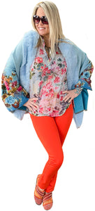 Printed Floral Cashmere Touch Fur Trimmed Shawl