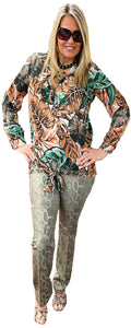 Jungle Batique Tie-Front Tunic