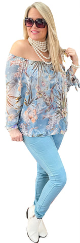 Powder Blue Washable Silk On/Off Shoulder Blouse