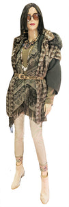 Chocolate Mint Mink Paw Tunic Vest w/ Detachable Fox Hood