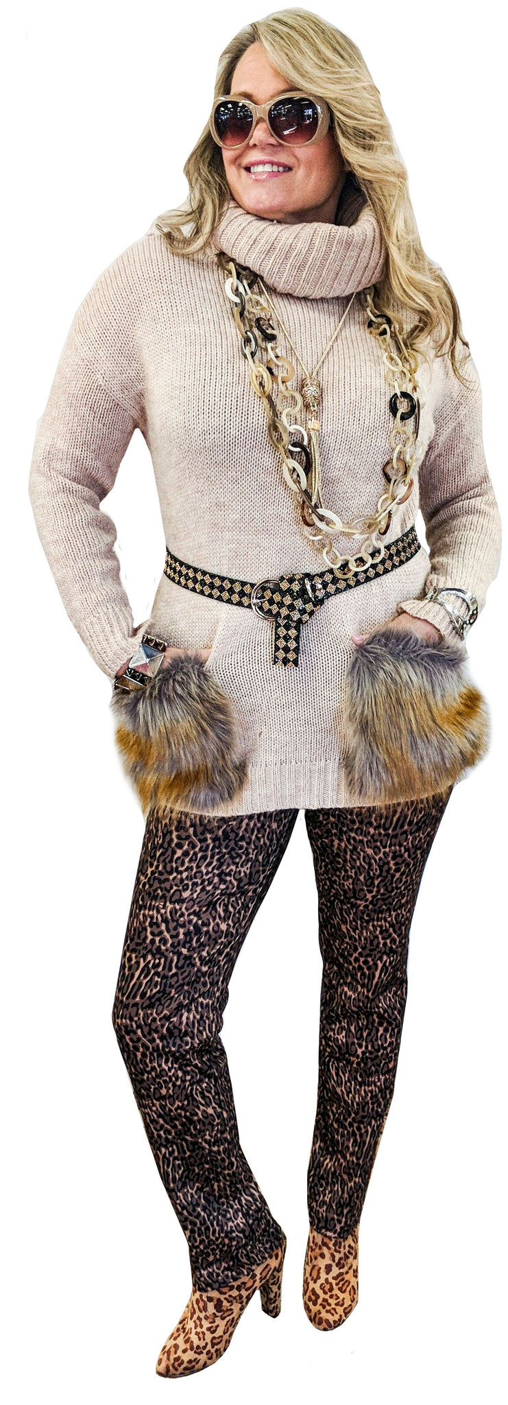 Lush Blush Cowl Neck Sweater Tunic with Faux Fur Pockets