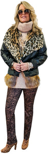 Vegan Leather Fitted Moto with Generous Faux Leopard Fur Shawl Collar