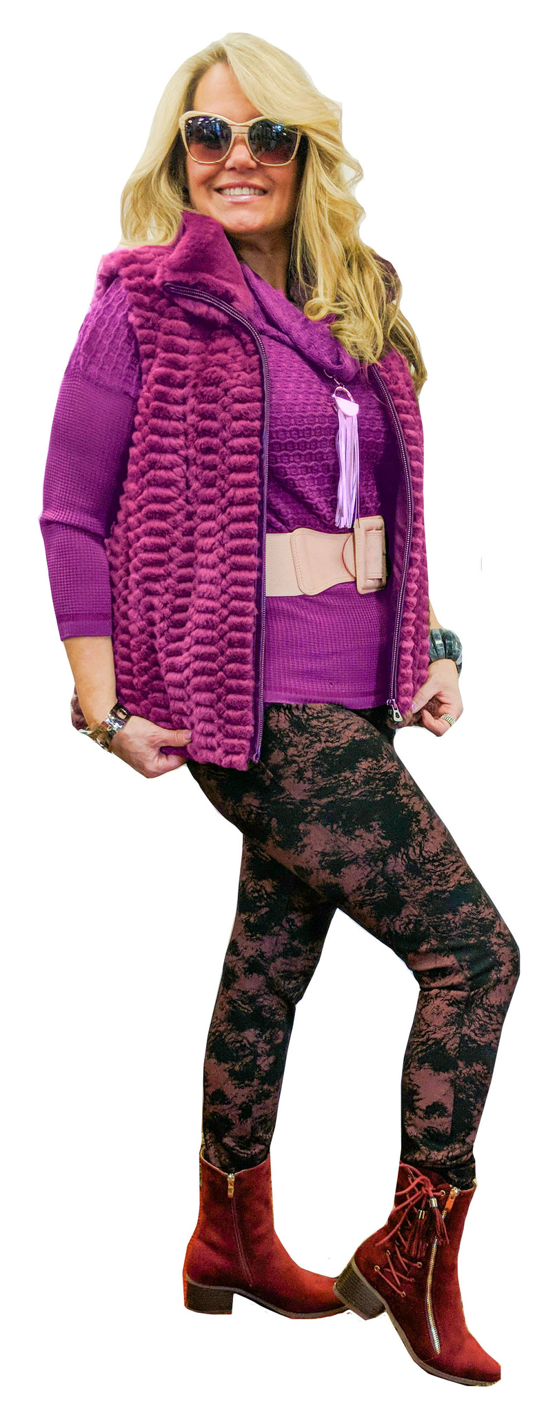 Black and Plum Abstract Stretch Miracle Pant