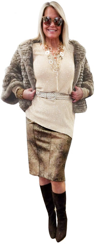 Taupe Chinchilla Rex 3/4 Sleeve Fur Jacket