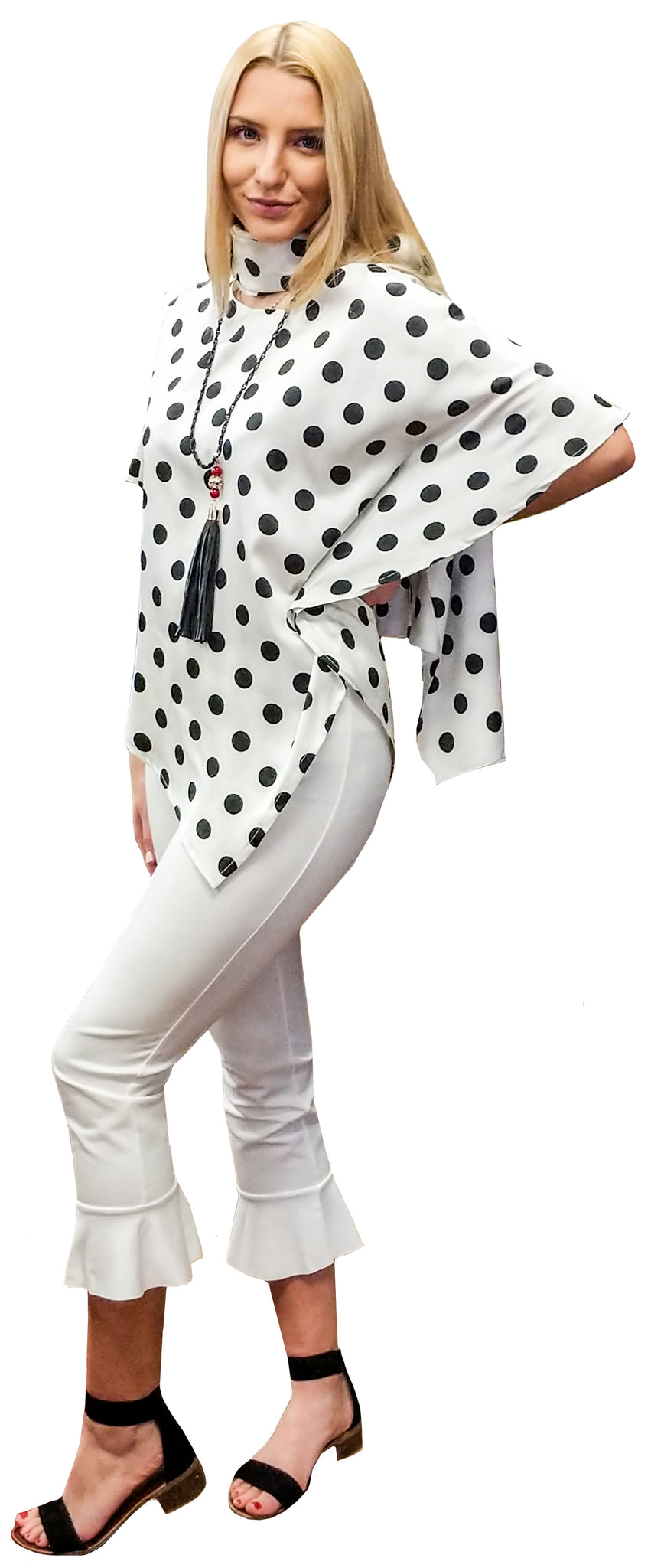 Satin Black White Dot Poncho Blouse