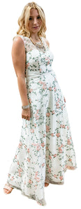 Delicately Embroidered French Floral Motif Gown