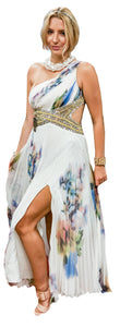 One-Shoulder Watercolor Pleated Chiffon with Jewel Cutout