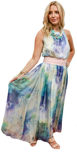 Impressionist Watercolor Chiffon Halter Gown