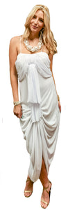 Ruched Draped Chiffon Tiered Dress