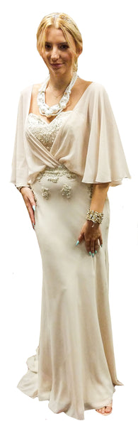 3/4 Flounce Sleeve Gown with Beaded Sweetheart-Neck