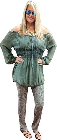 Italian Olive Washable Silk Tunic