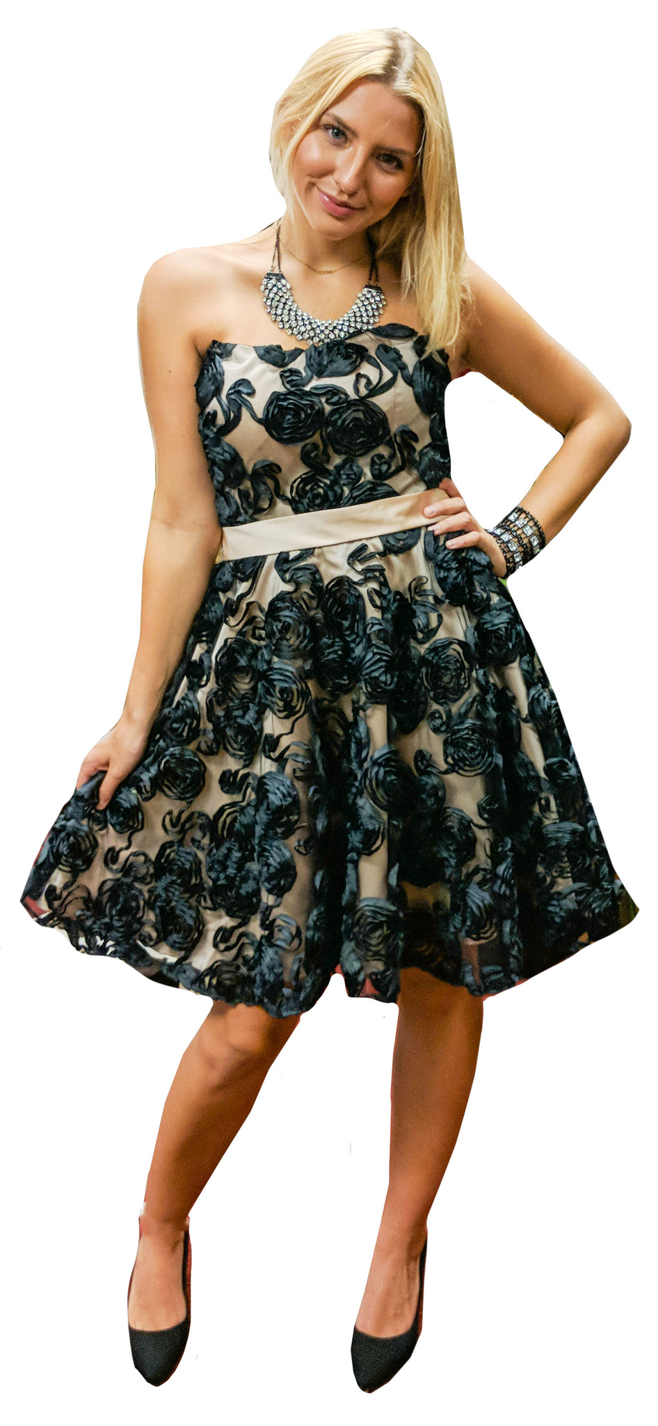 Black Roses Over Sheer Nude Belted Strapless Mini Dress