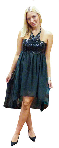 Black Strapless Sequin Top with Flowy Sheer Bottom Mini Dress