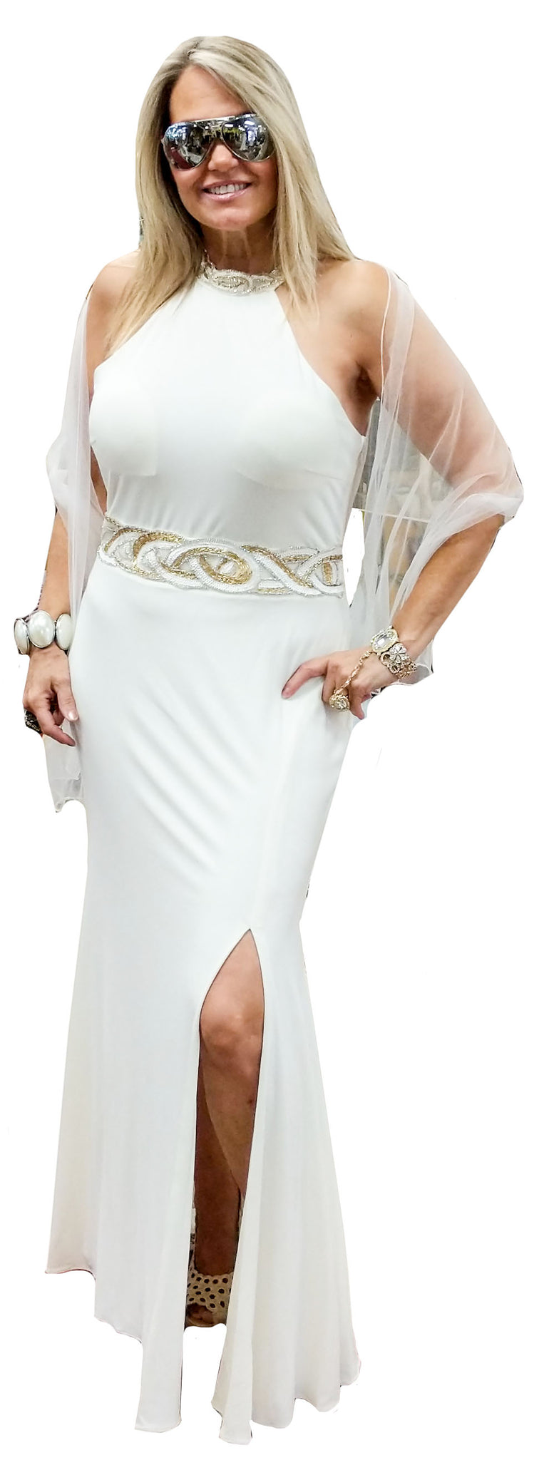 Gold & White Decal Jersey Halter Neck Gown w/ Leg Slit