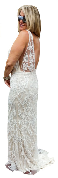 Sequin & Lace Low-V Low Back Gown