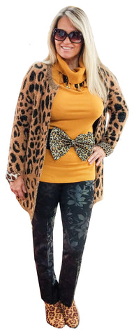 Leopard Sequin Stretch Back Bow Belt