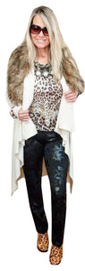 Cashmere Touch High Low Sweater Coat with Faux Fur Collar