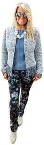 Powder Blue Tweed Boucle Fringe Collarless Jacket
