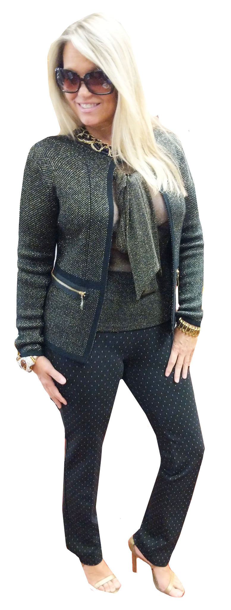 Black and Gold Subtle Knit Zip Chanel Inspired Cardigan