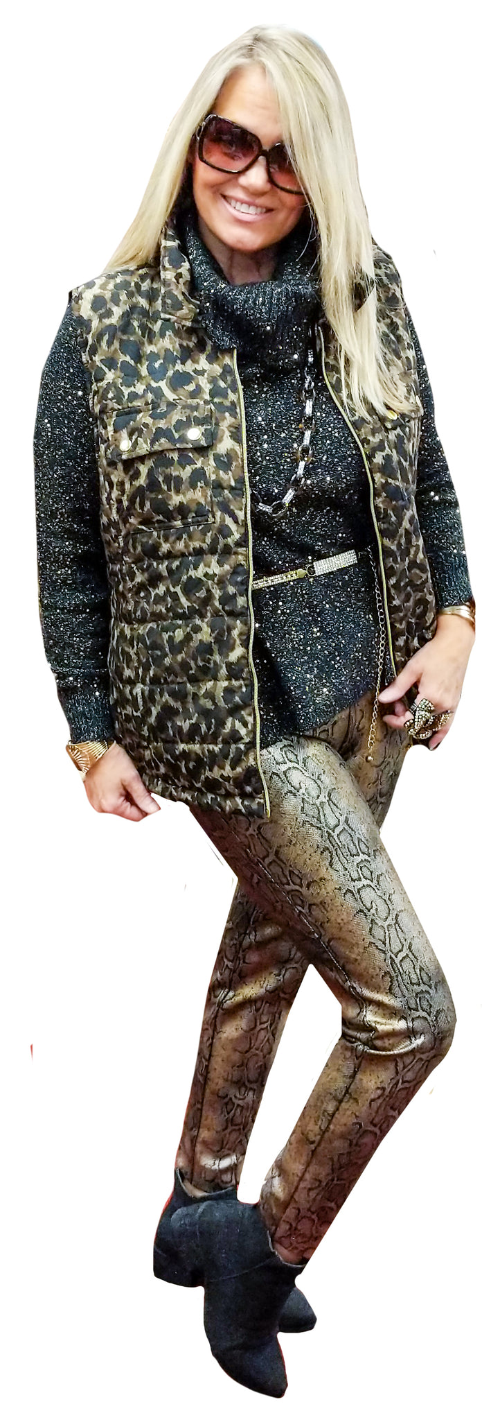 Feather-Weight Quilted Leopard Puffer Vest