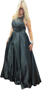 Black Jet Beaded Halter Bodice with Black Taffeta Ball Gown