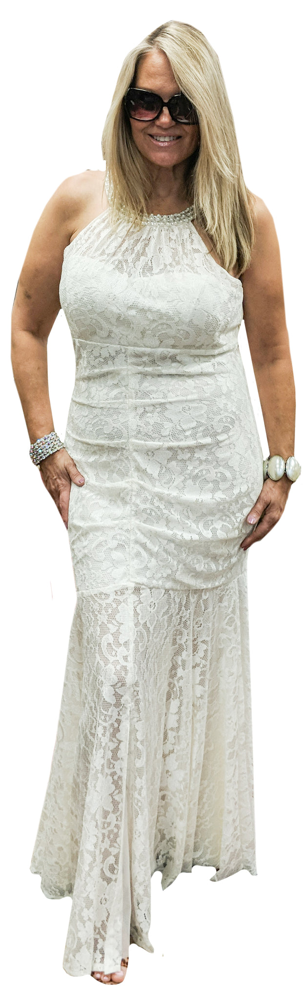 Ruched Lace Gown with Pearl Halter Neckline