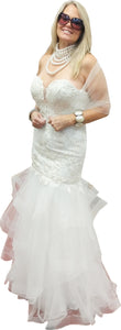 Tiered Tulle Mermaid Gown with Crystal Lace Bodice & Plunging Sweetheart Neckline
