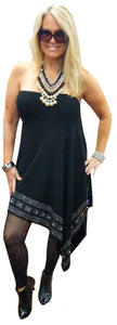 Cashmere Touch Stretch Convertible Black Poncho/Tube Dress