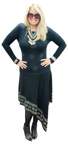 Black Cashmere Touch Circle Dot Fitted Knit Tunic