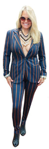 London Stretch Scuba Navy/ Rust Striped Blazer