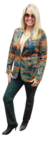 Foliage Printed Stretch Scuba Blazer