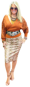 Stretch Python Miracle Pencil Skirt