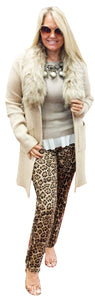 Suede Leopard Stretch 5 Pocket Pants