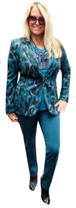 Teal/Navy Printed Ponte Fitted Blazer