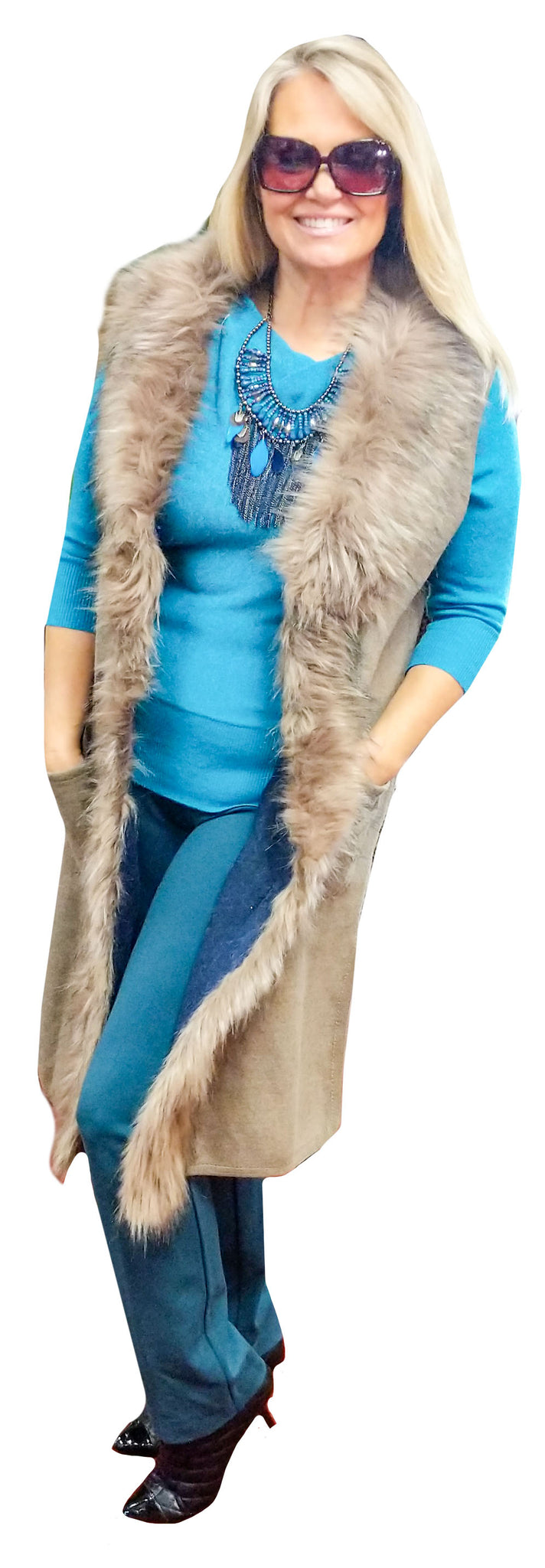 Taupe Cashmere Touch Maxi Vest with Faux Fur Collar