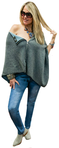 Reversible Powder Knit Zip Cape