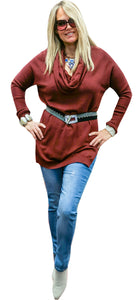 Merlot Cashmere-Touch Cowel Sweater Tunic